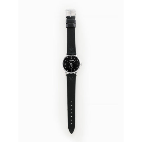 Throne 36MM Silver 1.0 Watch | Black/Black Stitching