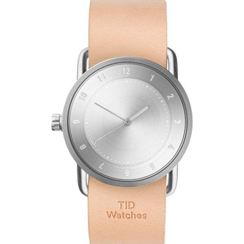 TID No. 2 36 Brushed Steel Watch | Natural Leather