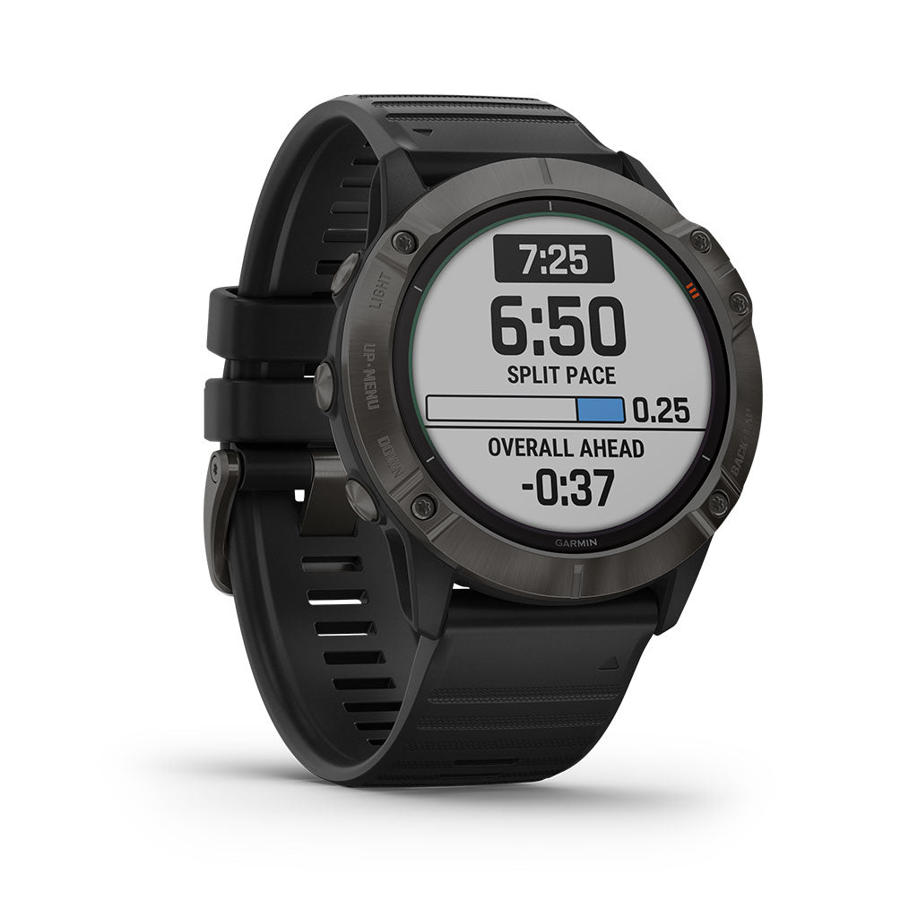 Garmin Fenix 6X Pro Solar Watch Titanium Carbon Gray DLC - Black Band, 010-02157-20