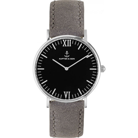 Kapten & Son Campus Grey Vintage Leather Watch | Black