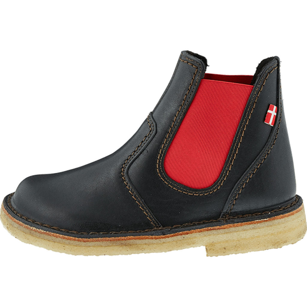 Duckfeet Roskilde Leather Boots in Black/Red