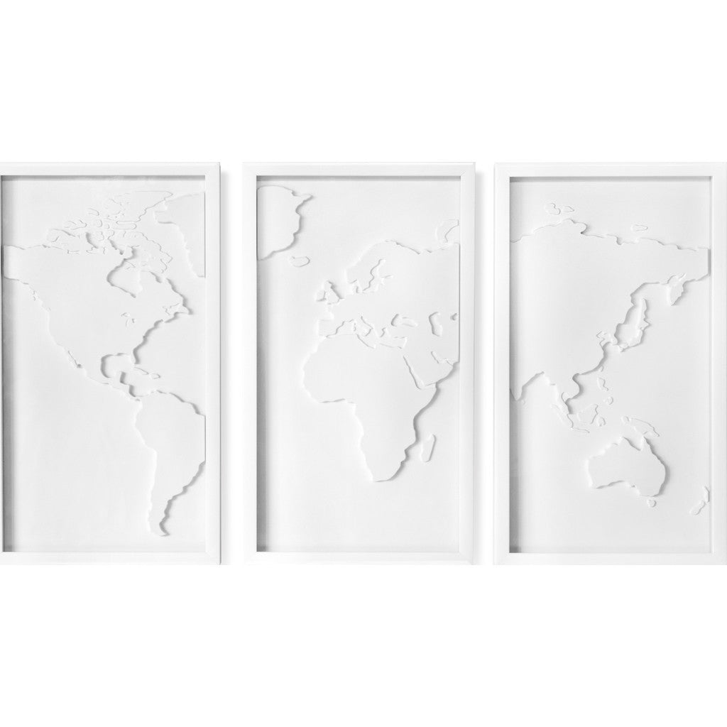 Umbra Wall Decor umbra mapster triptych wall decor white 470180-660 - sportique