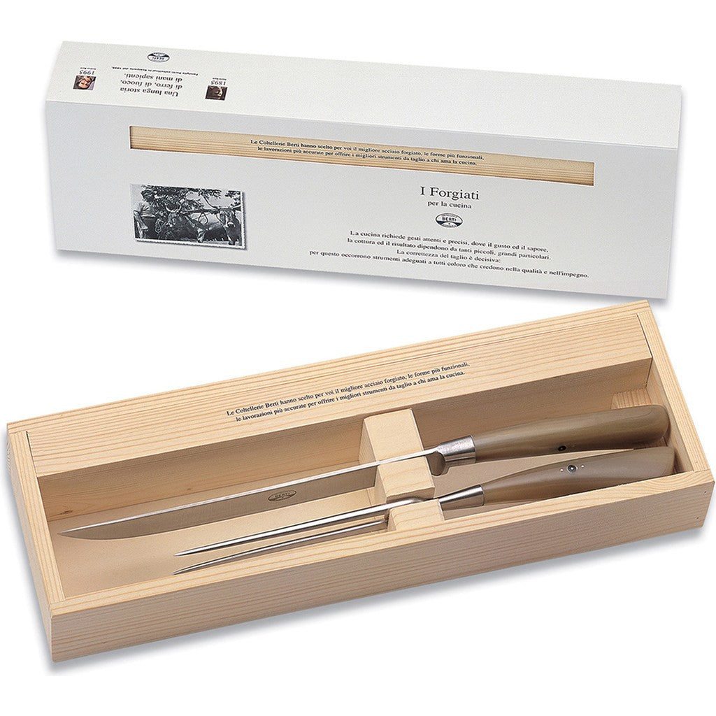Coltellerie Berti Carving Set | Ox Horn Handles-550