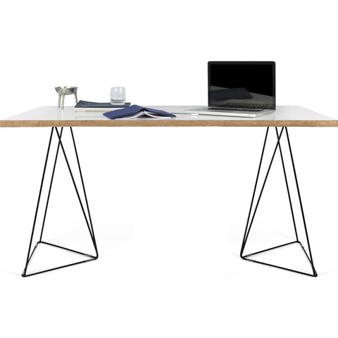 TemaHome Flow Desk | Pure White & Plywood / Black Lacquered Steel 190040-FLOW