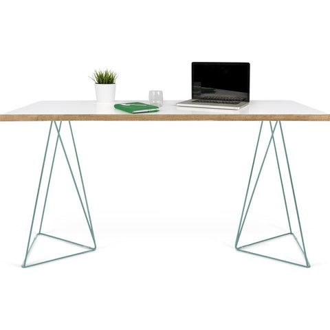 TemaHome Flow Desk | Pure White & Plywood / Sea Green Lacquered Steel 190040-FLOW