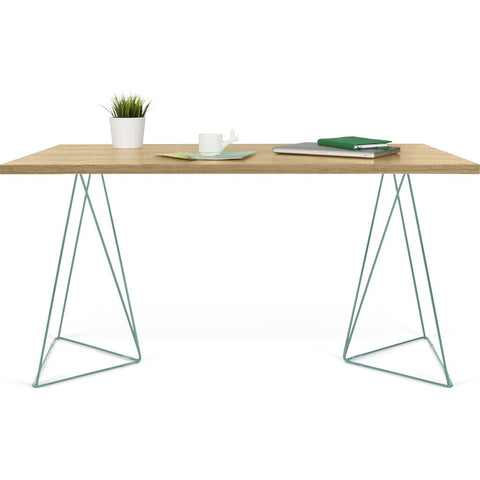 TemaHome Flow Desk | Oak / Sea Green Lacquered Steel 190040-FLOW