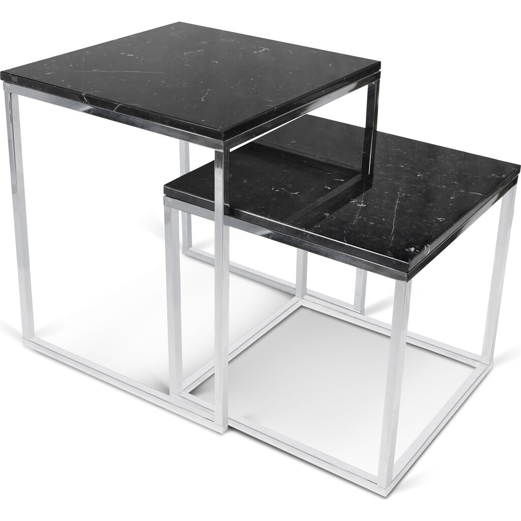 Temahome Prairie Nesting Table | Black Marble Top/Chrome Leg