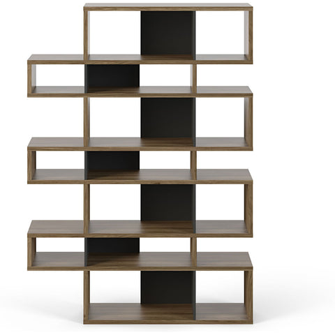 TemaHome London 003 Compostition Bookcase | Walnut Frame, Pure Black Backs 9500.314797