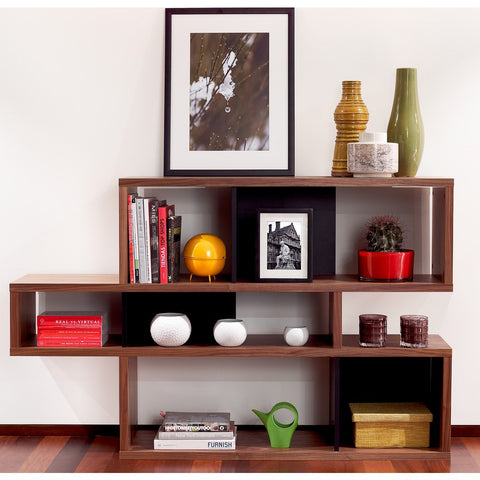 TemaHome London Composition Bookcase 2010-001 | Walnut Frame, Pure Black Backs 098020-LONDON1