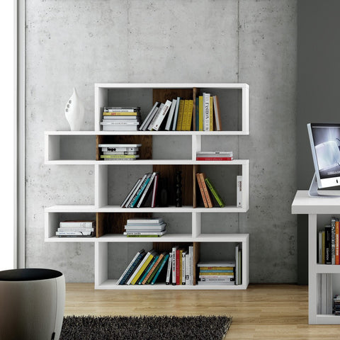 TemaHome London Composition Bookcase 2010-002 | Pure White Frame, Walnut Backs 098020-LONDON2