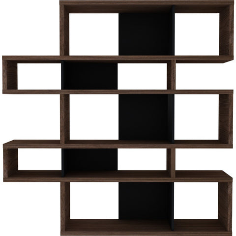 TemaHome London Composition Bookcase 2010-002 | Walnut Frame, Pure Black Backs 098020-LONDON2