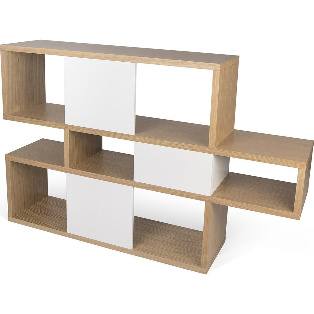 TemaHome London Composition Bookcase 2010-001 | Oak Frame, Pure White Backs 098020-LONDON1