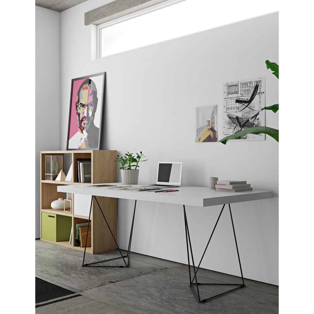 New TemaHome Multi 160 Trestle Dinning Table Pure White / Black  WU79