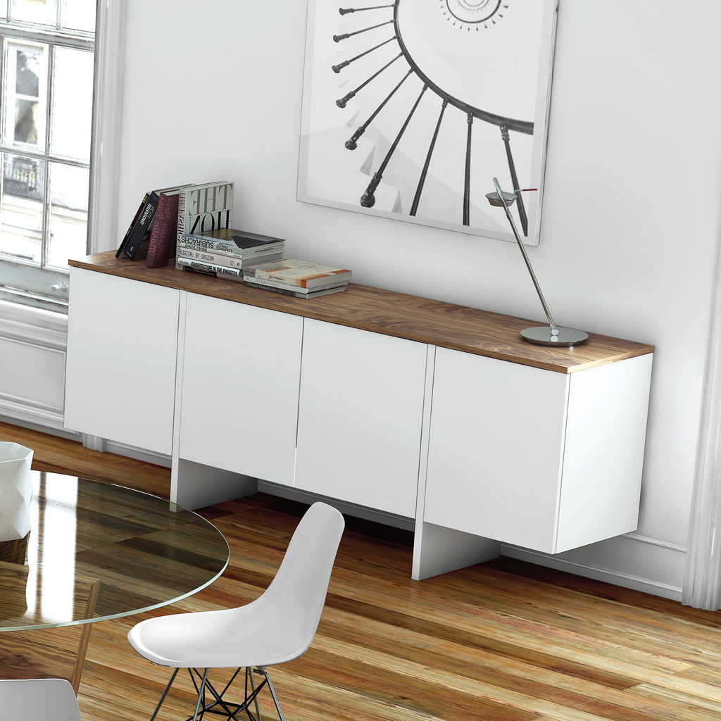 TemaHome Edge Sideboard | Pure White / Walnut 9500.62168