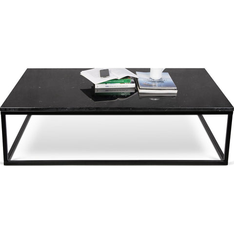 TemaHome Prairie 47X30 Marble Coffee Table | Black Marble Top / Black Lacquered Steel Legs 059042-PRAIRIE47MAR