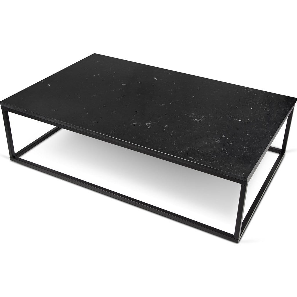 TemaHome Prairie 47X30 Marble Coffee Table Black Marble Top Black