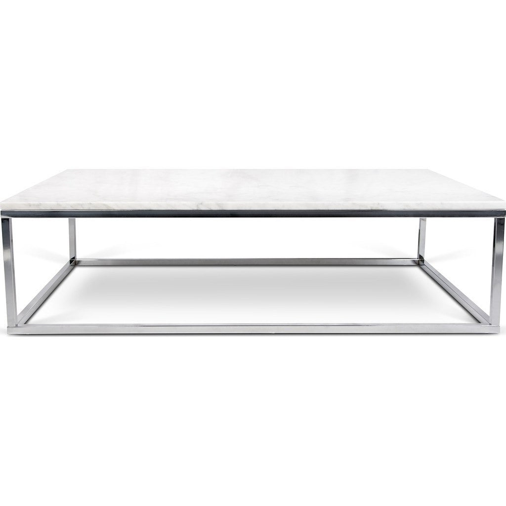 Temahome Prairie 47x30 Marble Coffee Table White Marble Top Chrome Legs 059042 Prairie47mar
