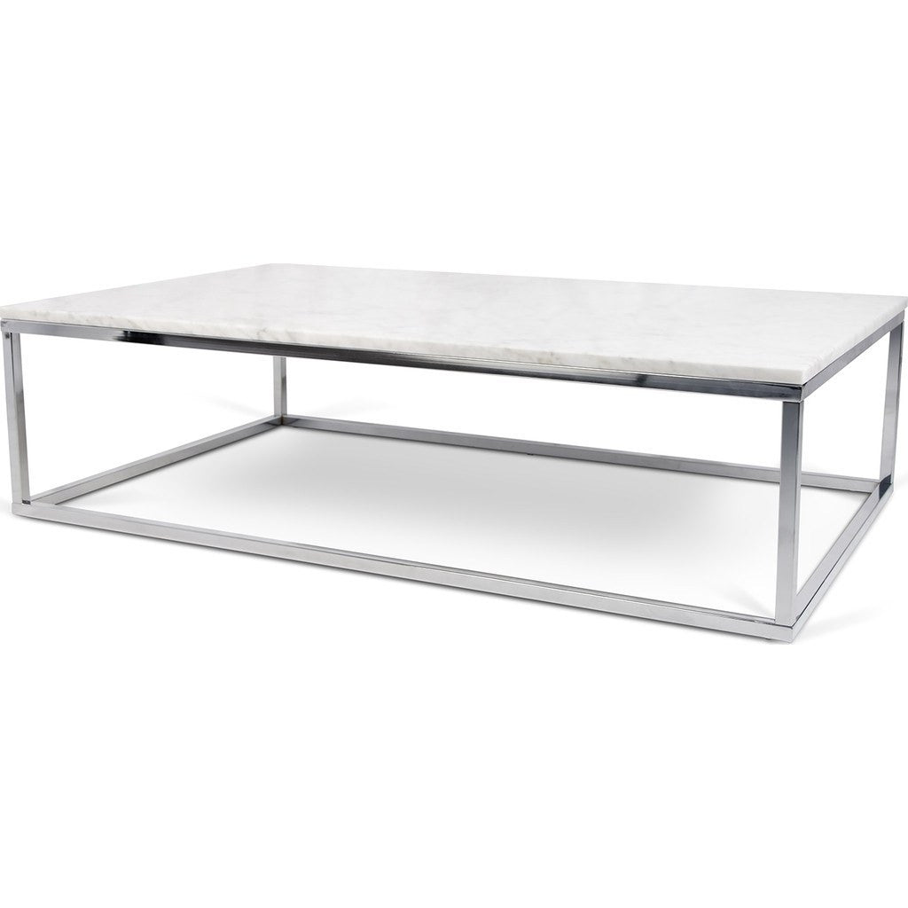 TemaHome Prairie X Marble Coffee Table White Marble TopChrome - Rectangle white marble coffee table