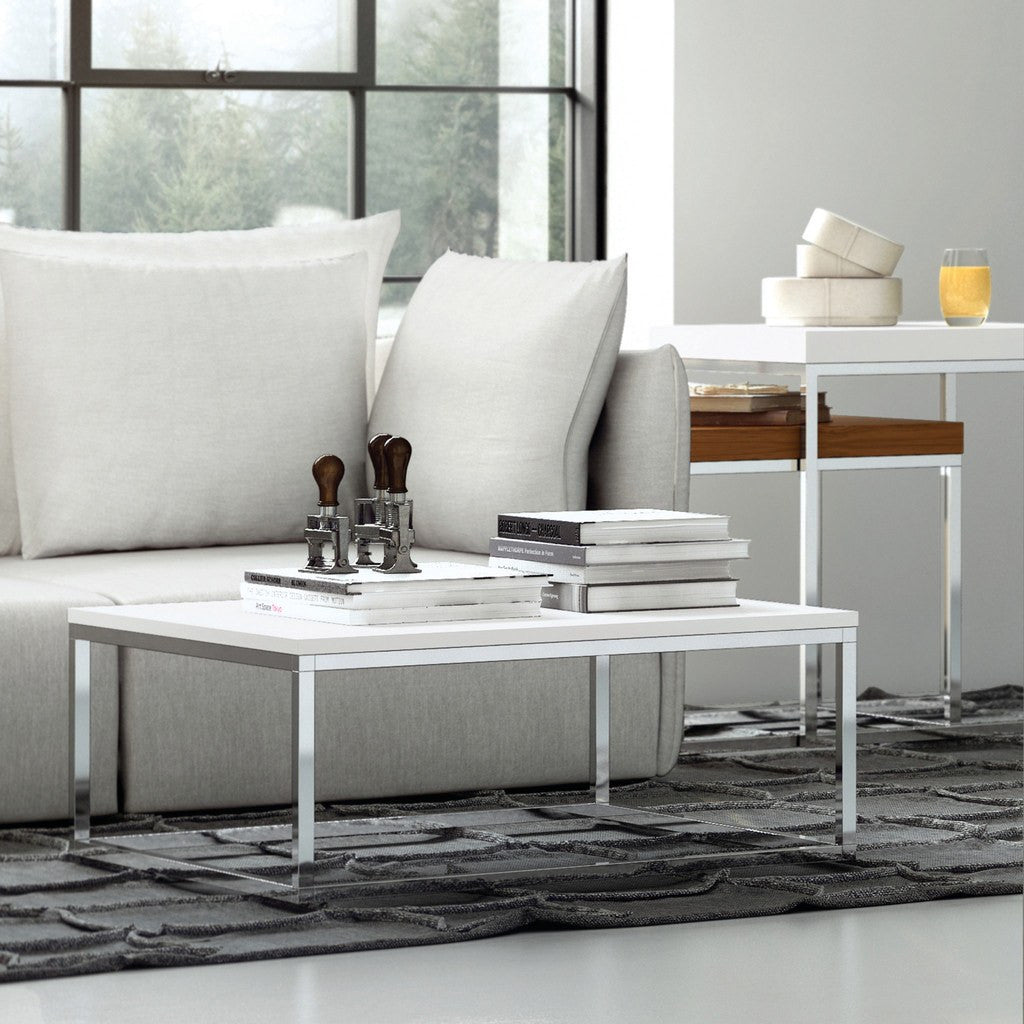 TemaHome Prairie 47X30 Marble Coffee Table White Marble Top/Chrome ...