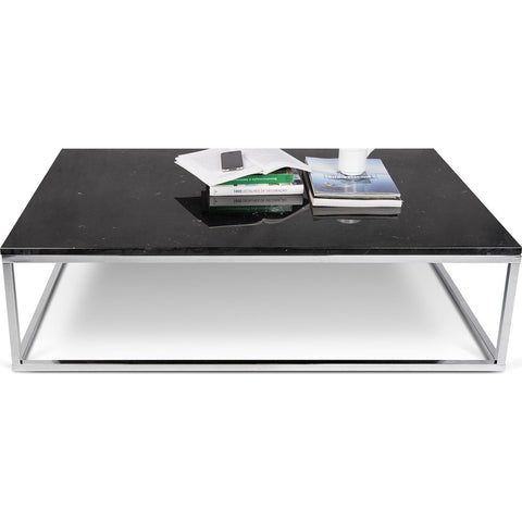 TemaHome Prairie 47X30 Marble Coffee Table | Black Marble Top / Chrome Legs 059042-PRAIRIE47MAR