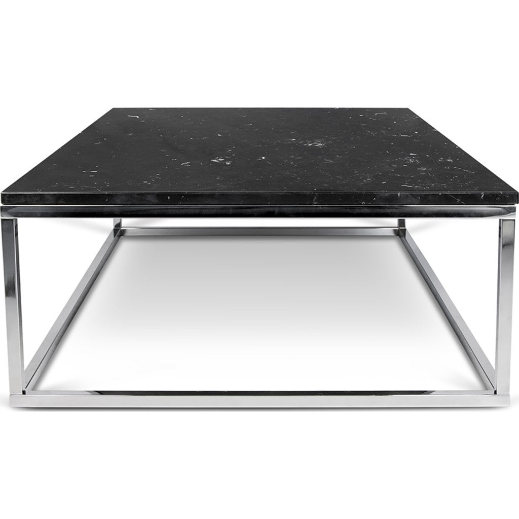 TemaHome Prairie 47X30 Marble Coffee Table | Black Marble Top / Chrome Legs  059042 PRAIRIE47MAR ...