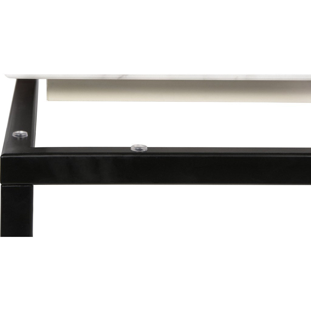 TemaHome Prairie 47X30 Marble Coffee Table | White Marble Top/Black  Lacquered Steel Legs 059042 ...