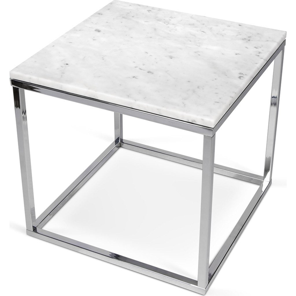 marble top end tables. temahome prairie 20x20 marble end table | white top/chrome legs 059042-prairie20mar top tables