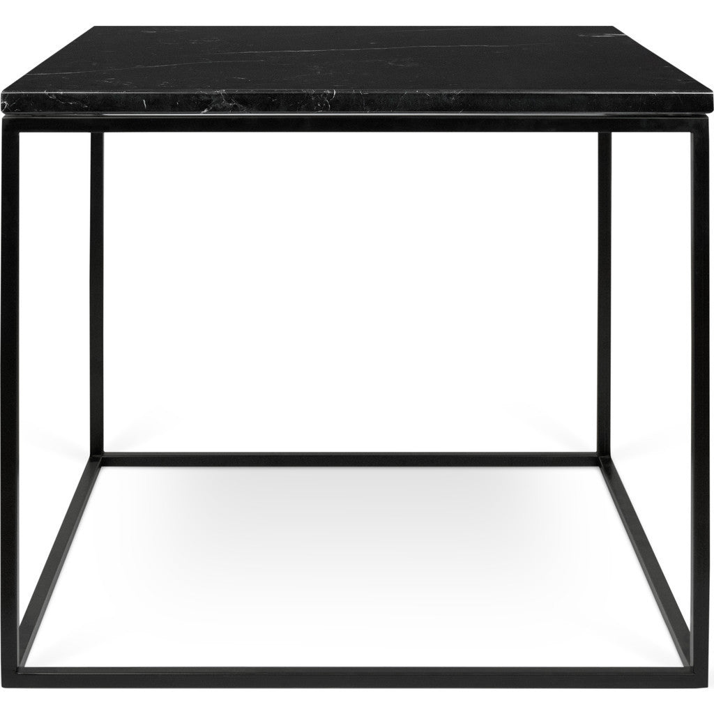 Temahome Gleam 20x20 Marble Side Table Black Marble Black