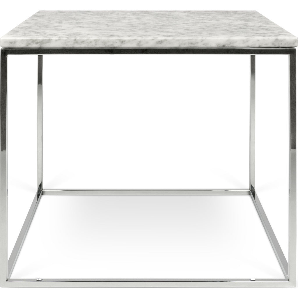 ... TemaHome Gleam 20x20 Marble Side Table | White Marble / Chrome  187042 GLEAM20MAR ...