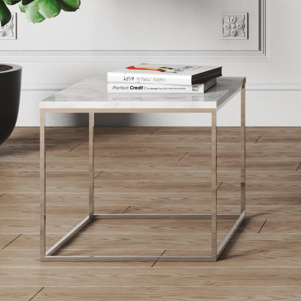 Gleam White Marble Black Coffee Table By Temahome: TemaHome Gleam 20x20 Marble Side Table White Marble