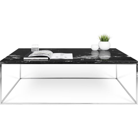 TemaHome Gleam 47x30 Marble Coffee Table | Black Marble / Chrome 187042-GLEAM47MAR
