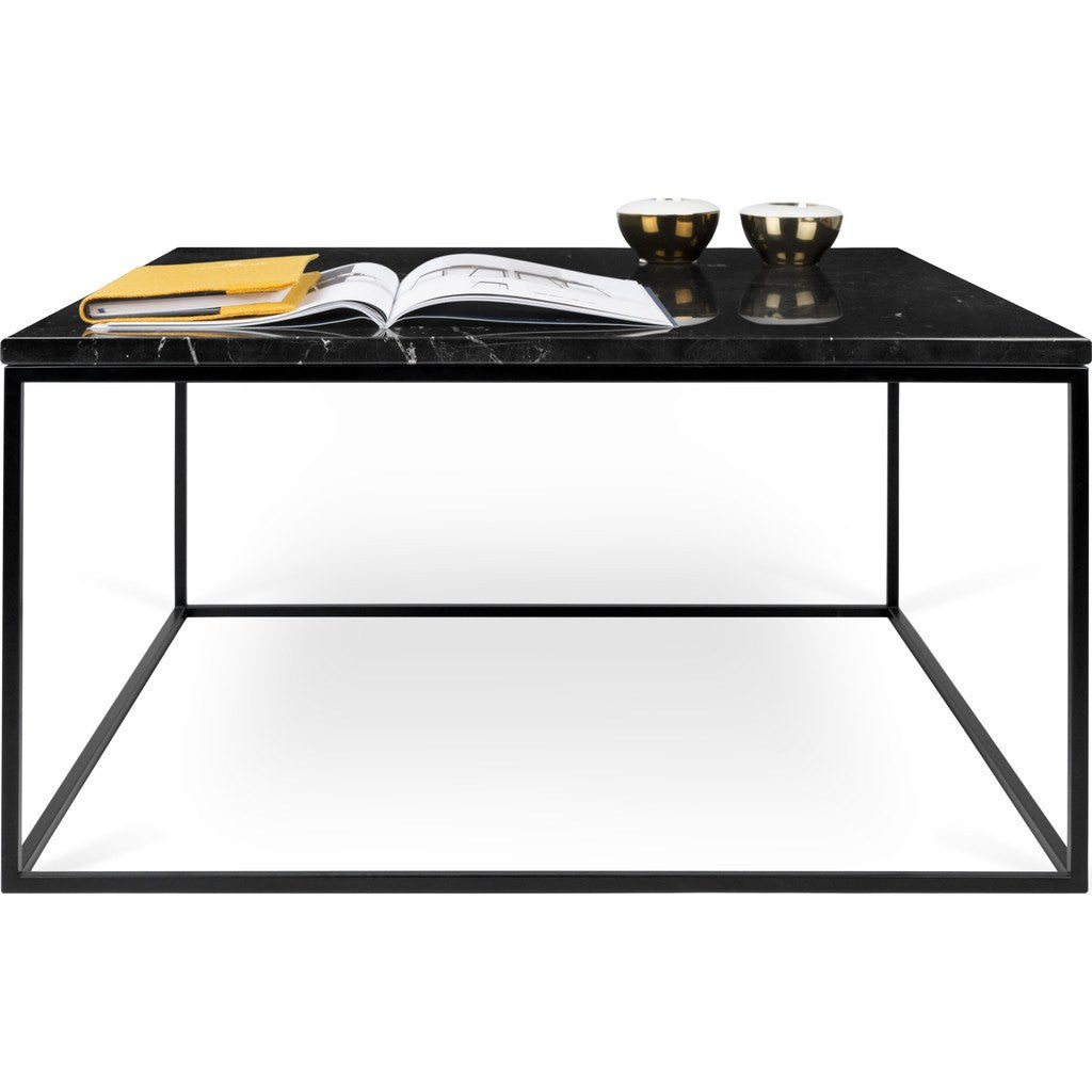 ... TemaHome Gleam 30x30 Marble Coffee Table | Black Marble / Black  Lacquered Steel 187042 GLEAM30MAR ...