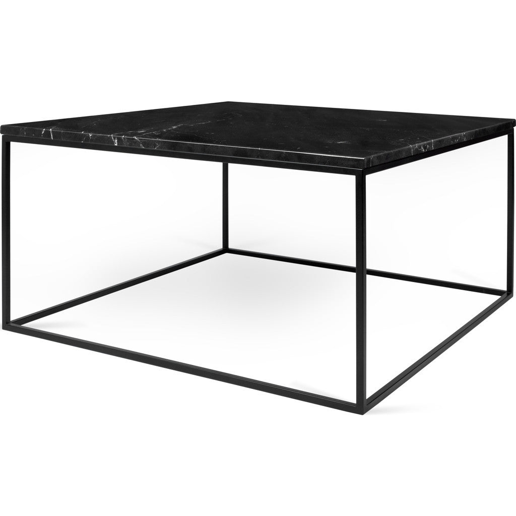 TemaHome Gleam 30x30 Marble Coffee Table Black Marble Black