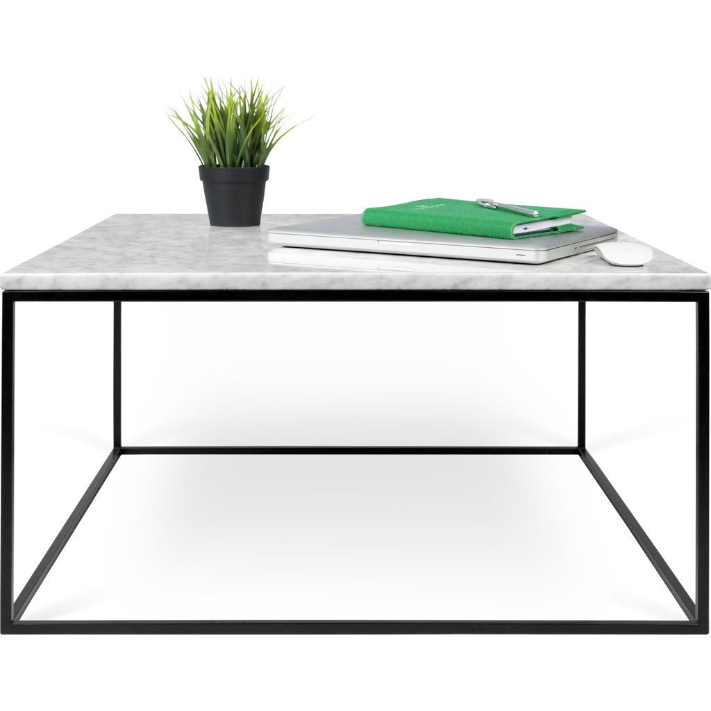 TemaHome Gleam 30x30 Marble Coffee Table White Marble / Black ...