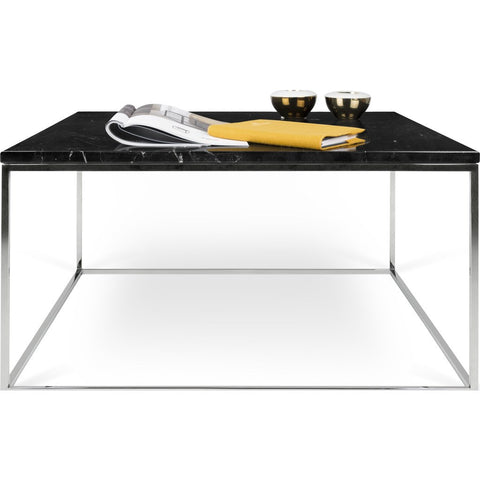 TemaHome Gleam 30x30 Marble Coffee Table | Black Marble / Chrome 187042-GLEAM30MAR