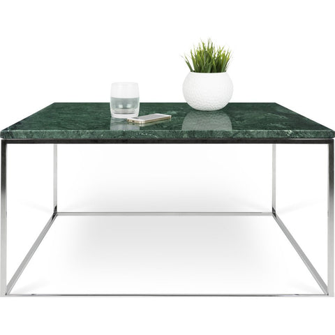 TemaHome Gleam 30x30 Marble Coffee Table | Green Marble / Chrome 187042-GLEAM30MAR