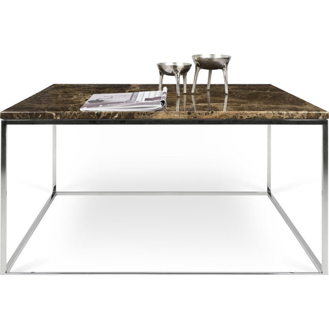 TemaHome Gleam 30x30 Marble Coffee Table | Brown Marble / Chrome 187042-GLEAM30MAR