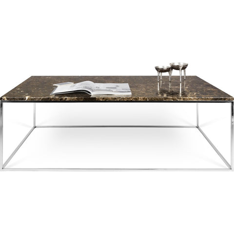 TemaHome Gleam 47x30 Marble Coffee Table | Brown Marble / Chrome 187042-GLEAM47MAR