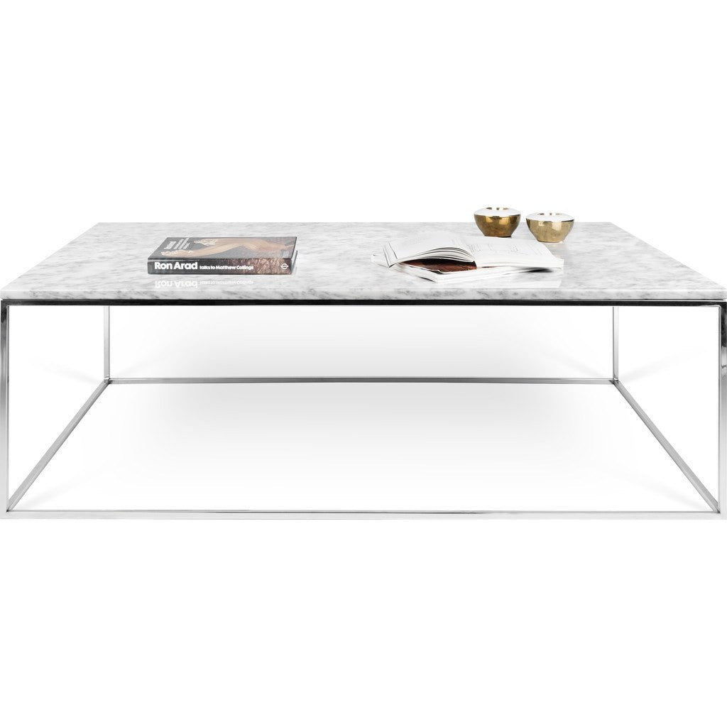 Temahome Gleam 47x30 Marble Coffee Table White Marble Chrome