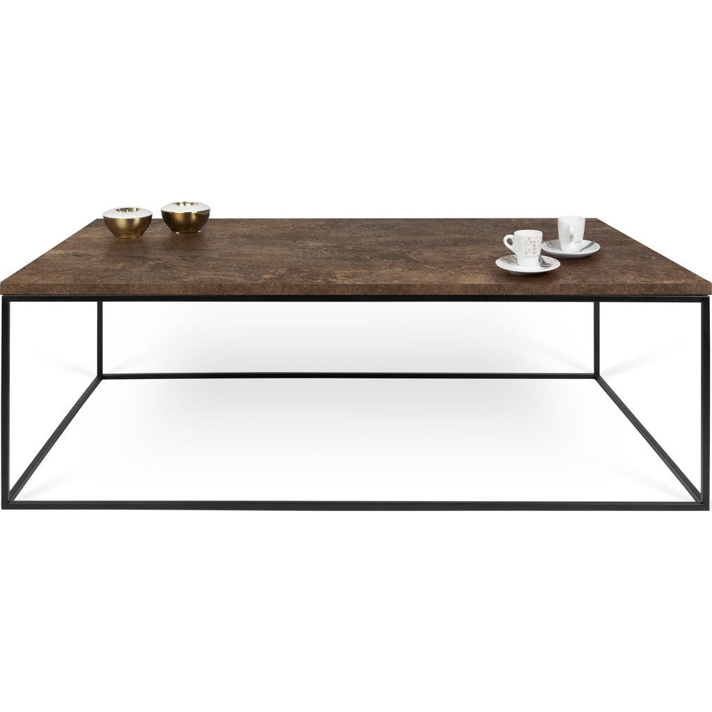 ... TemaHome Gleam 47x30 Coffee Table | Rusty Look / Black Lacquered Steel  187042 GLEAM47 ...