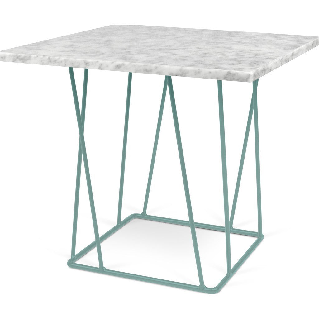 ... TemaHome Helix 20x20 Marble Side Table | White Marble / Sea Green  Lacquered Steel 189043  ...