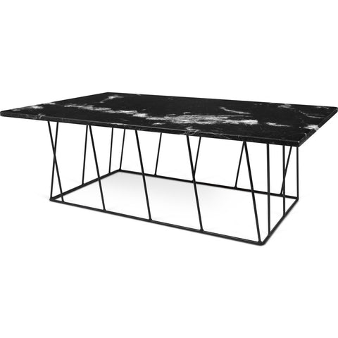 TemaHome Helix 47x30 Marble Coffee Table | Black Marble / Black Lacquered Steel 189042-HELIX47MAR