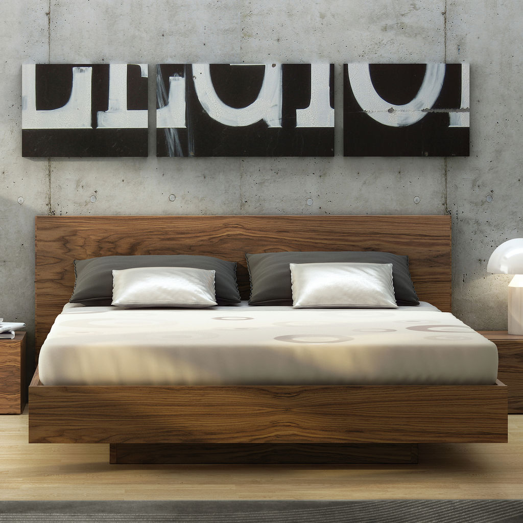 TemaHome King Size Float Bed Frame Walnut - Sportique