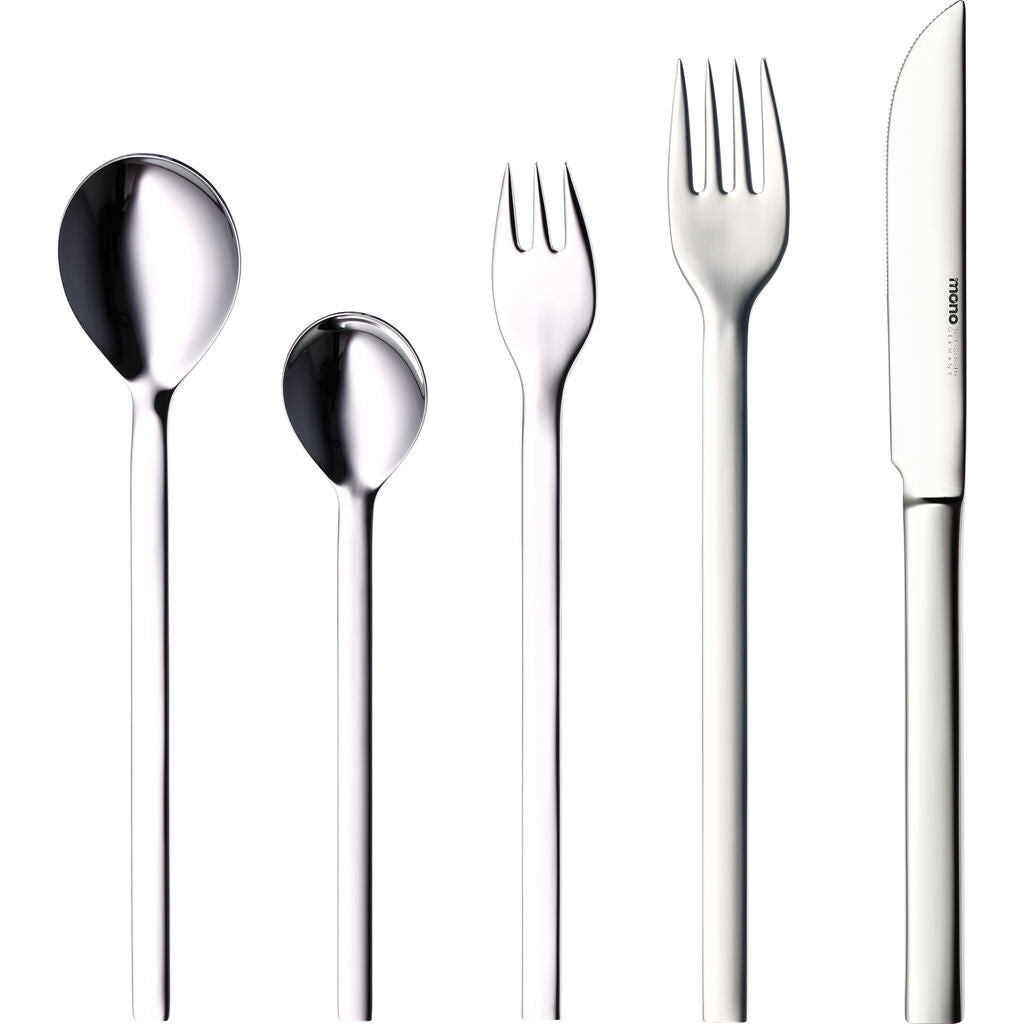 Mono Mono-A 5-piece Flatware Set with Long Knife Blade | Mirror Finish 60748