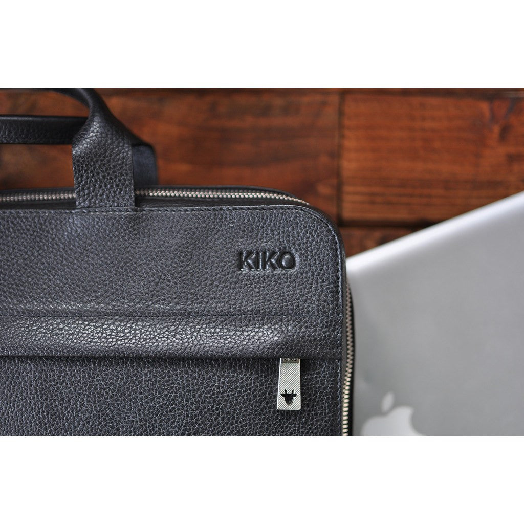 Kiko Leather Agent Pebble 15 Laptop Briefcase | Black 601
