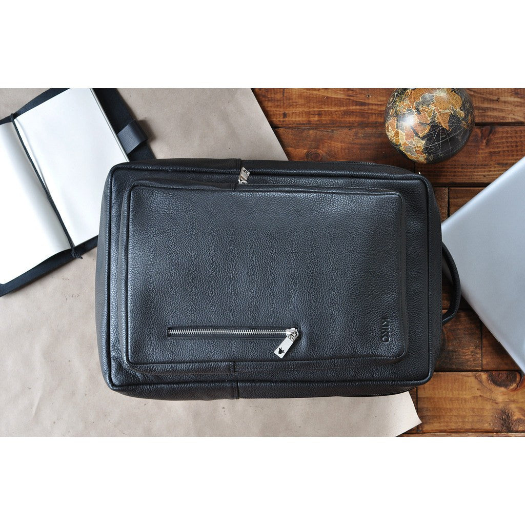 Kiko Leather Pebble 13 Laptop Backpack | Black 602