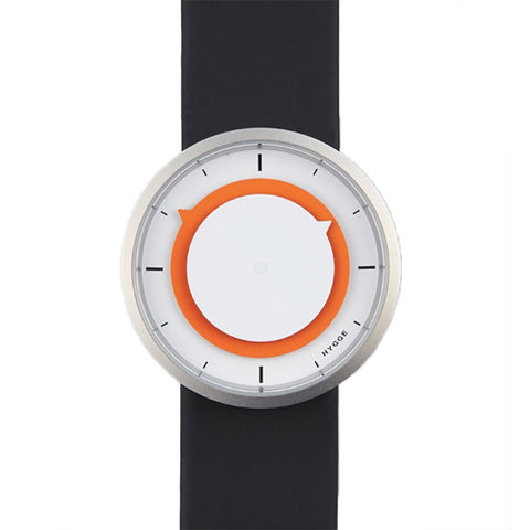 Hygge 3012 Series White/Orange Watch | Leather