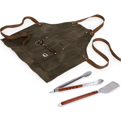 Picnic Time Legacy BBQ Apron w/ Tools & Bottle Opener