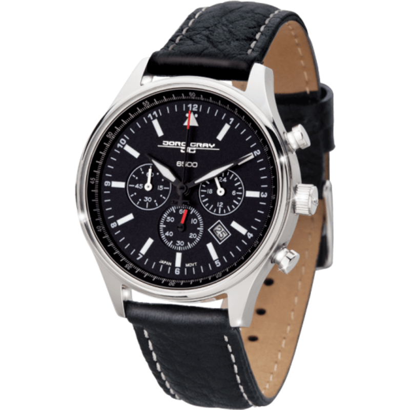 Jorg Gray JG6500-21 Black Chronograph Unisex Watch | Leather
