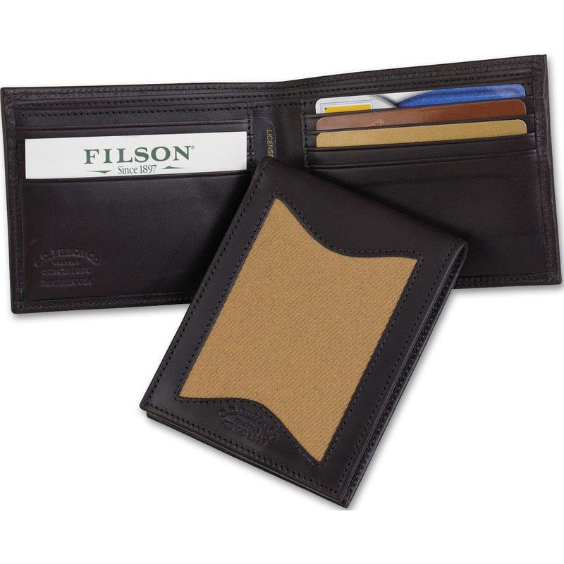 Filson Leather/Twill Outfitter Wallet | Tan